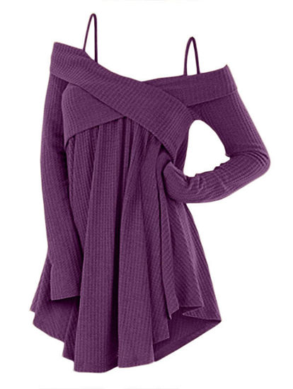 Picture of Crisscross Open Shoulder Tunic Sweater
