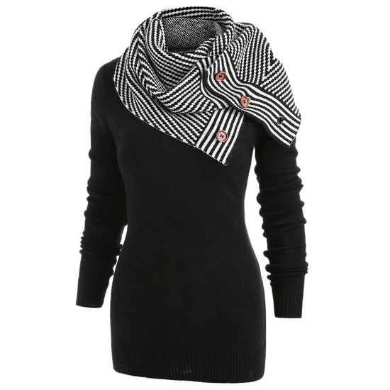 Picture of Pullover Sweater with Striped Scarf